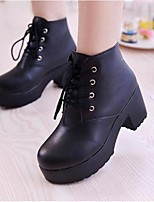 Women's Boots Fall Winter PU Outdoor Chunky Heel Lace-up Black White Other