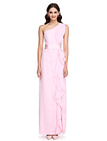 Lanting Bride®Floor-length Chiffon Bridesmaid Dress - Elegant Sheath / Column One Shoulder with Ruffles / Sash / Ribbon