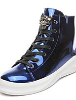 Men's Fashion Boots PU Casual Flat Heel Zipper / Lace-up Black / Blue / Silver Walking EU39-43