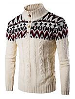 Мужской Контрастных цветов Пуловер На каждый день / Для занятий спортом,Хлопок,Длинный рукав,Черный / Бежевый / Серый