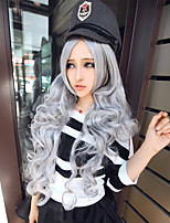 High Quality Grey Ombre Wig Long Gray Curly Wigs Synthetic Lace Front Wig Heat Resistant Cheap
