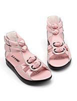 Розовый / Белый-Для девочек-На каждый день-Кожа-На плоской подошвеСандалии