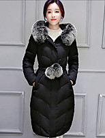 Women's Solid Pink / Beige / Black / Gray / Green Padded Coat,Street chic Hooded Long Sleeve