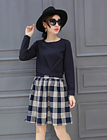 Boutique S Women's Going out Sophisticated Spring Set SkirtSolid Round Neck Long Sleeve Blue