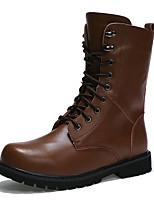 גברים-מגפיים-עור-נוחות מגפי שלג-שחור עירום-שטח יומיומי-עקב שטוח
