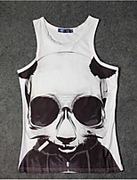 Men's Print Sport Tank TopsCotton Short Sleeve-White