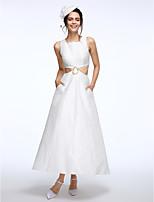 Lanting Bride® גזרת A שמלת כלה  באורך הקרסול מרובע בד קאפוק עם חרוזים