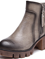 Women's Boots Spring / Fall/Winter Combat Boots Synthetic Office & Career / Casual Chunky Heel Zipper Black/Brown/Gray