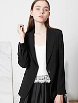C+IMPRESS  Women's Work Simple All Seasons BlazerSolid Notch Lapel Long Sleeve Black Polyester Opaque