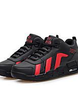 Femme-Sport-Noir Blanc Noir et rouge-Talon Plat-Confort-Baskets-Polyuréthane
