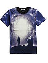 Herren T-shirt-Druck Freizeit / Sport Baumwolle / Polyester Kurz-Blau