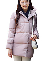 Women's Solid Hin Thin Slim Thick Padded CoatSimple / Street chic Hooded Long Sleeve