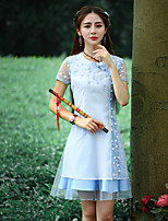 Our Story Going out Chinoiserie Sheath DressEmbroidered Round Neck Above Knee Short Sleeve White Polyester Summer