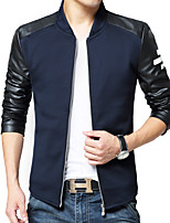 Men's Long Sleeve Casual / Plus Size JacketPolyester Color Block Black / Blue / Gray