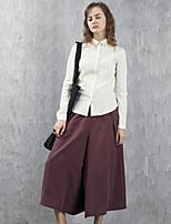 sólido de color rojo / negro de primavera / otoño pierna pantssimple par en par de las mujeres rizhuo