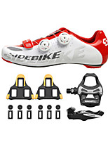 SD002 Cycling Shoes Unisex Road Bike Sneakers Damping / Cushioning White / Red-sidebike And ShimanoR550 Rock Pedals