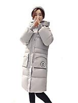 Women's Solid Pink / Black / Gray / Green Padded Coat,Simple / Cute Hooded Long Sleeve