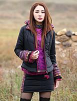 Dámské Standardní S vycpávkou Cikánský Jdeme ven Tisk-Kabát Polyester Bavlna Dlouhý rukáv Kapuce Černá