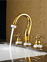Contemporary Vessel Widespread with  Ceramic Valve Two Handles Three Holes for  Gold  Bathroom Sink Faucet