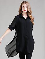 LUTING® Женский Рубашечный воротник Длинные Рубашка и Блузка черный увядает-21324