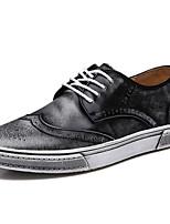 Черный Коричневый-Мужской-Повседневный Для занятий спортом-Наппа Leather-На плоской подошве-Удобная обувь-Туфли на шнуровке