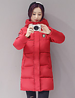Women's Solid Pink / Red / White / Black / Gray Padded CoatSimple Hooded Long Sleeve