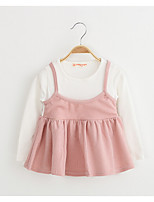 Girl's Casual/Daily Solid DressCotton / Rayon Spring / Fall Pink / Yellow