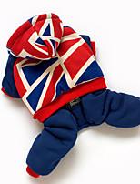 Hunde Overall Blau Hundekleidung Winter Nationalflagge Niedlich / warm halten / Winddicht /
