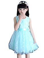 Girl's Casual/Daily Print Dress,Cotton / Polyester Summer Blue / Pink