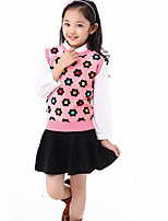 Girl's Casual/Daily Floral BlouseWool / Cotton Spring / Fall Blue / Pink