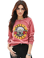 Women's Casual/Daily Sexy Regular Hoodies,Print Red Round Neck Long Sleeve Cotton Fall Medium