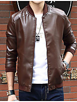 Men's Long Sleeve Casual / Formal JacketPolyester Solid Black / Blue / Brown