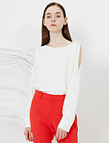 Women's Going out Street chic Spring / Fall T-shirtSolid Round Neck Long Sleeve White Polyester Medium
