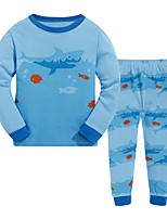 Boy's Casual/Daily Print Clothing SetCotton Winter / Fall Blue