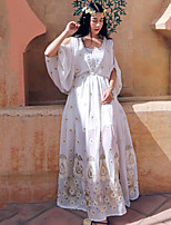Whisper Wheat Women's Going out / Boho A Line DressEmbroidered Round Neck Maxi Long Sleeve White Polyester Summer