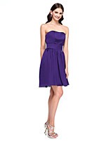 Lanting Bride® Short / Mini Satin Chiffon Bridesmaid Dress - Short A-line Strapless with Sash / Ribbon