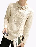 Мужской Однотонный Пуловер На каждый день / Большие размеры,Полиэстер,Длинный рукав,Черный / Синий / Коричневый