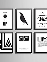 E-HOME® Framed Canvas Art, Black And White Letters Series Framed Canvas Print One Pcs