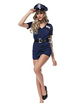 Cosplay Costumes Party Costume Police Career Costumes Movie Cosplay Blue Solid Dress Hat Halloween Christmas Female Polyester