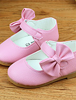 Girl's Flats Spring Fall Comfort PU Casual Flat Heel Bowknot Black Yellow Pink Others