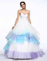 Lanting Bride® A-line Wedding Dress Chapel Train Sweetheart Lace / Organza with Beading / Tiered