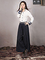 Our Story Women's Striped Blue Loose PantsSophisticated Spring / Fall