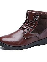 Men's Boots Fall Winter Others Suede PU Outdoor Casual Flat Heel Lace-up Black Brown Walking Others