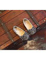 Women's Sandals Spring / Fall Comfort PU Outdoor Flat Heel Crystal Black / Silver Walking