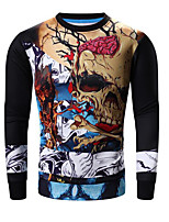Men's Print Casual / Sport SweatshirtCotton Long Sleeve Black