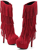 Damen-Stiefel-Lässig Party & Festivität-Pelz-Stöckelabsatz-Modische Stiefel-Schwarz Rot