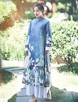 Женский На каждый день Шинуазери (китайский стиль) Свободный силуэт Платье Цветочный принт,Воротник-стойка До колена Длинный рукав Синий