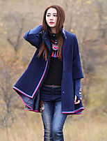Our Story Women's Going out Boho Trench CoatPrint Stand Long Sleeve Winter Blue Wool / Polyester Thick
