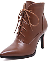 Women's Boots Fall / Winter Comfort / Pointed Toe / Closed Toe Casual Stiletto Heel Lace-up Black / Brown Walking