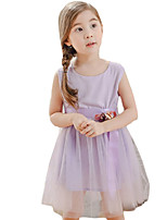 Girl's Casual/Daily Solid DressPolyester Summer Purple / White